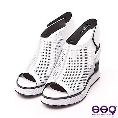 ee9 率性風采鏤空露趾百搭楔型跟涼鞋 白色