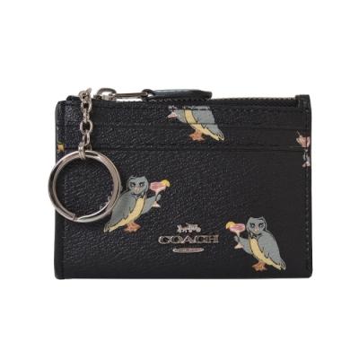COACH 金字馬車LOGO防刮皮革卡夾/零錢鑰匙包-貓頭鷹