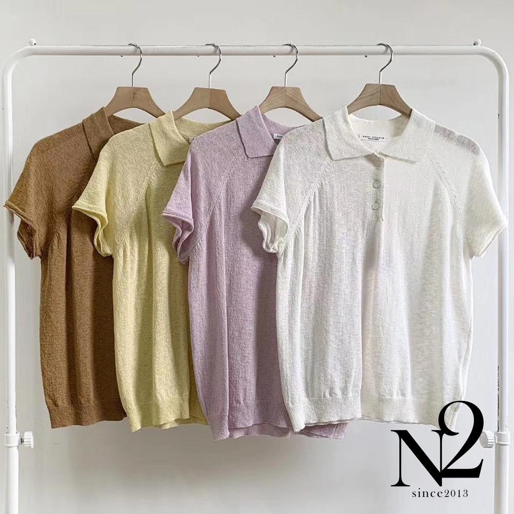 上衣 正韓素面翻領薄透材質POLO衫短袖上衣(黃)N2