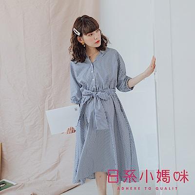 日系小媽咪孕婦裝-孕婦裝 藍白格紋小立領洋裝 附綁帶