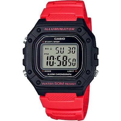 CASIO 復古帥氣方形數位電子錶-黑X紅(W-218H-4B)/26mm