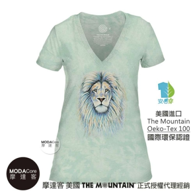 摩達客-美國The Mountain都會系列 絢麗獅王綠底 V領藝術修身女版短袖T恤