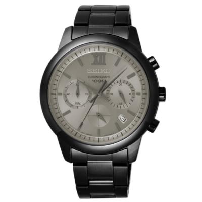 SEIKO 命運輪盤三眼時尚腕錶-黑框銀(SSB141P1)/42mm