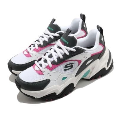 Skechers 休閒鞋 Stamina V2 厚底 女鞋 輕量 避震 緩衝 防滑 耐磨 修飾 白 灰 149510WGPK