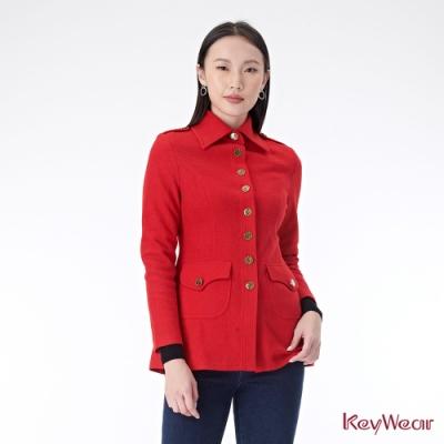 KeyWear奇威名品    大領片英倫風中長版外套-紅色