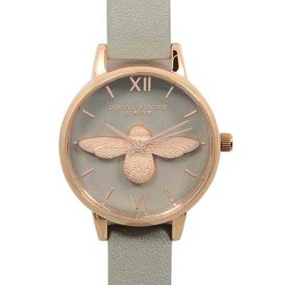 Olivia Burton 英倫復古手錶 3D立體蜜蜂灰色真皮錶帶 灰錶面玫瑰金框30mm