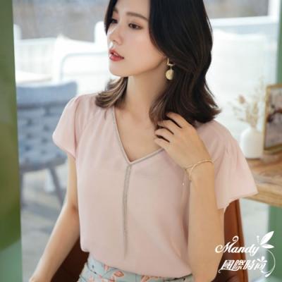 Mandy國際時尚 氣質V領顯瘦短袖寬鬆雪紡上衣 (3色)【韓國服飾】