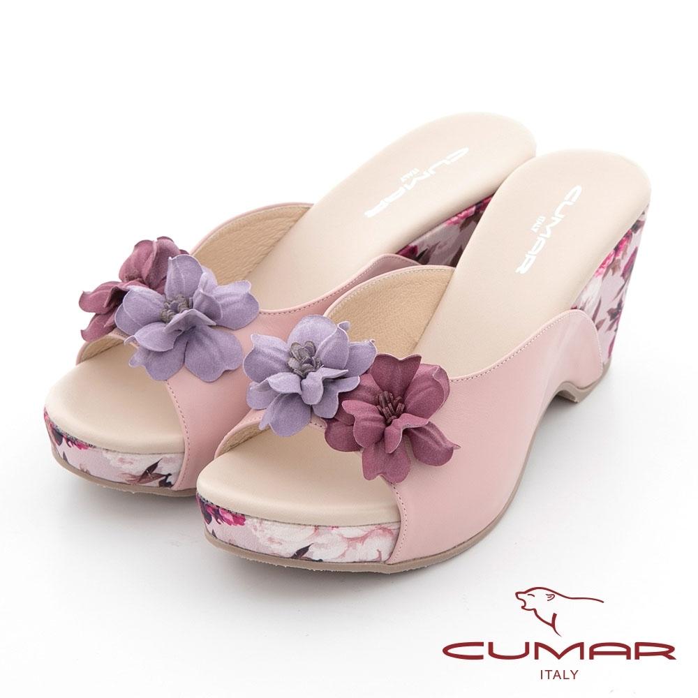 【CUMAR】花色拼接皮革楔型台涼拖鞋-淺粉紅