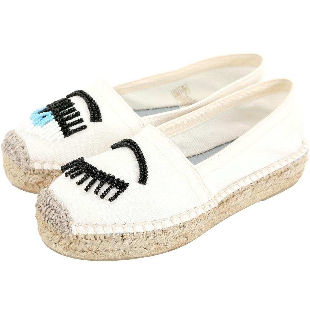Chiara Ferragni Flirting 串珠眨眼單寧帆布草編鞋(白色)