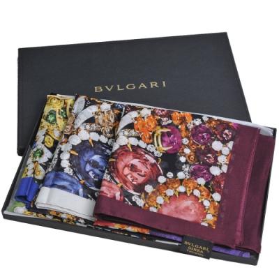 BVLGARI GINZA 銀座限定義大利製寶石圖騰字母LOGO100%棉質領巾三條組