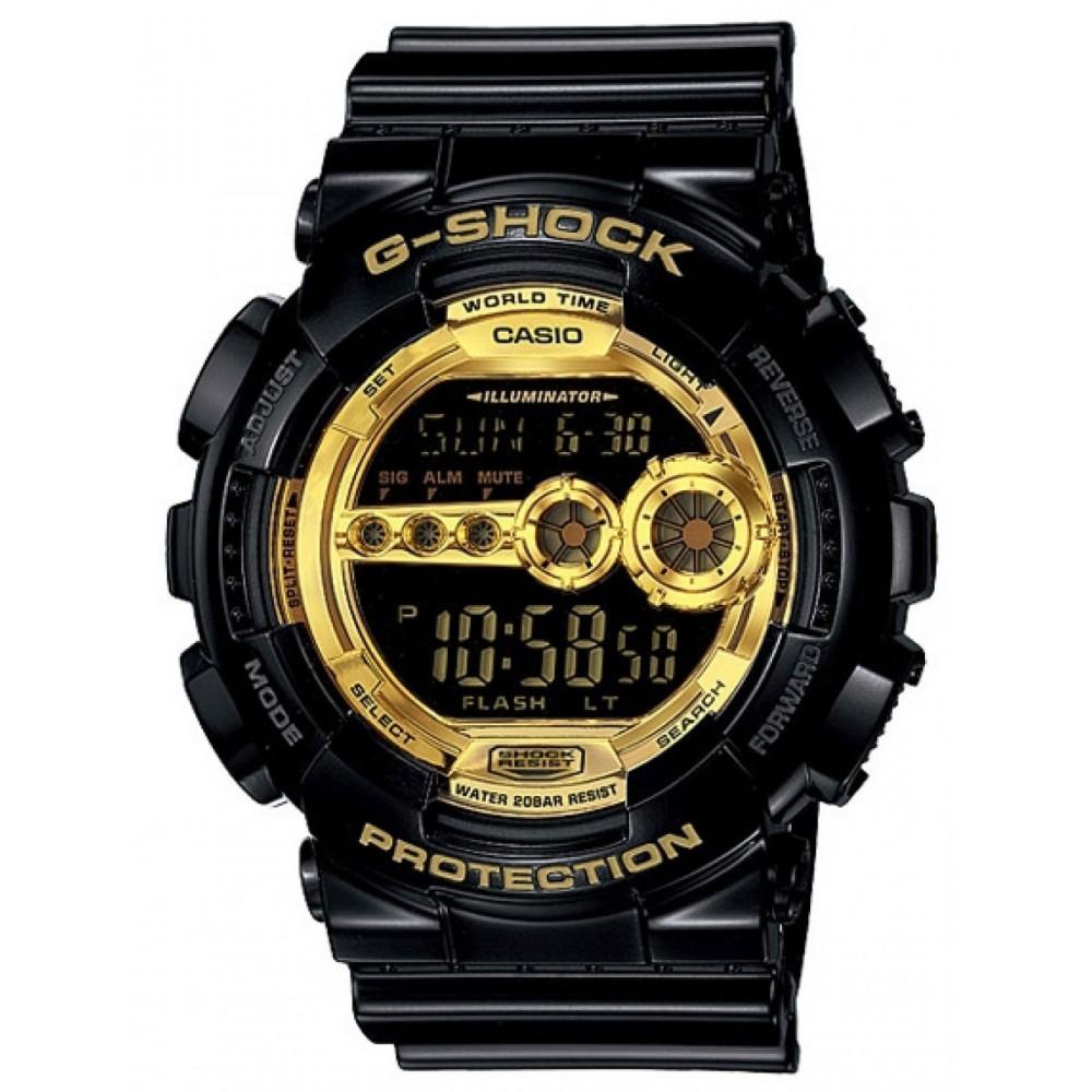 G-SHOCK 超個性強悍高亮眼休閒錶(GD-100GB-1)-狂派黑金版/51.2mm