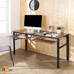 BuyJM工業風低甲醛防潑水附插座雙鍵盤工作桌寬160x60x79公分-DIY