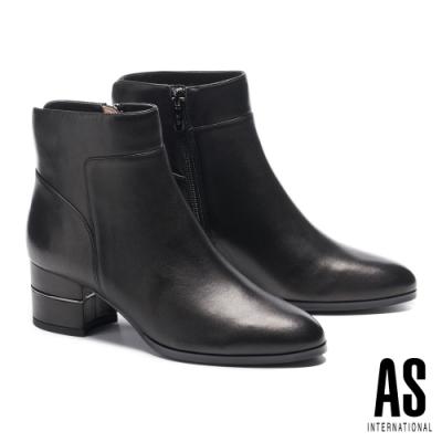 短靴 AS 簡約率性接版造型全真皮尖頭高跟短靴-黑