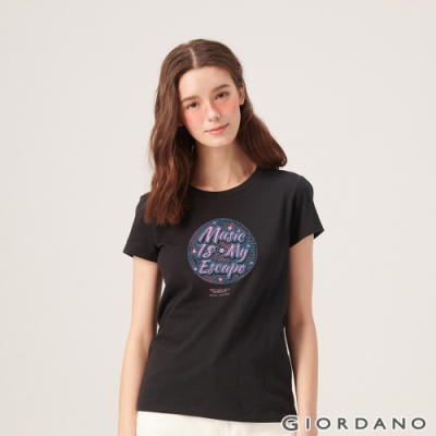 GIORDANO 女裝MUSIC系列印花短袖T恤- 01 標誌黑