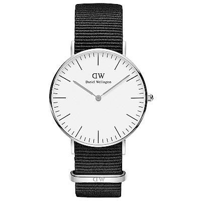 DW Daniel Wellington 時尚康沃爾黑NATO錶帶石英腕錶-銀框/36mm