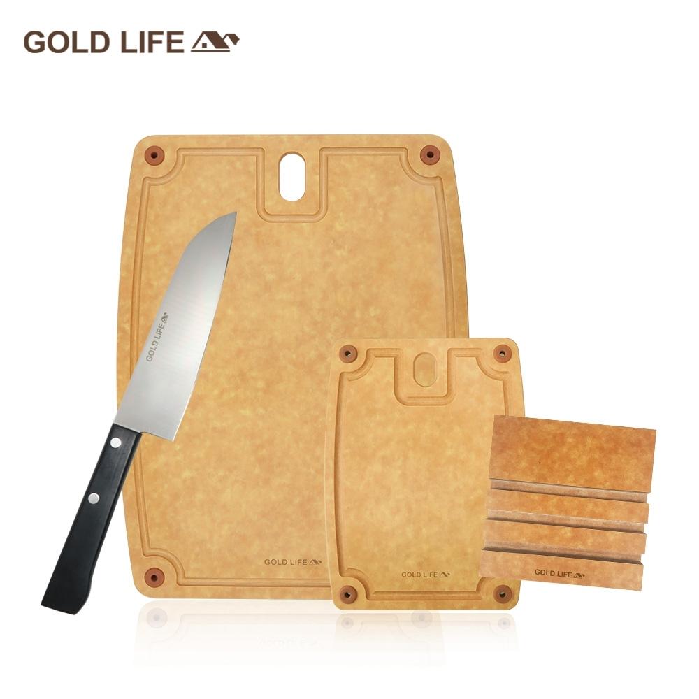 GOLD LIFE美國原木不吸水抗菌砧板大+小 再送GOLD LIFE日式主廚刀+GOLD LIFE砧板架