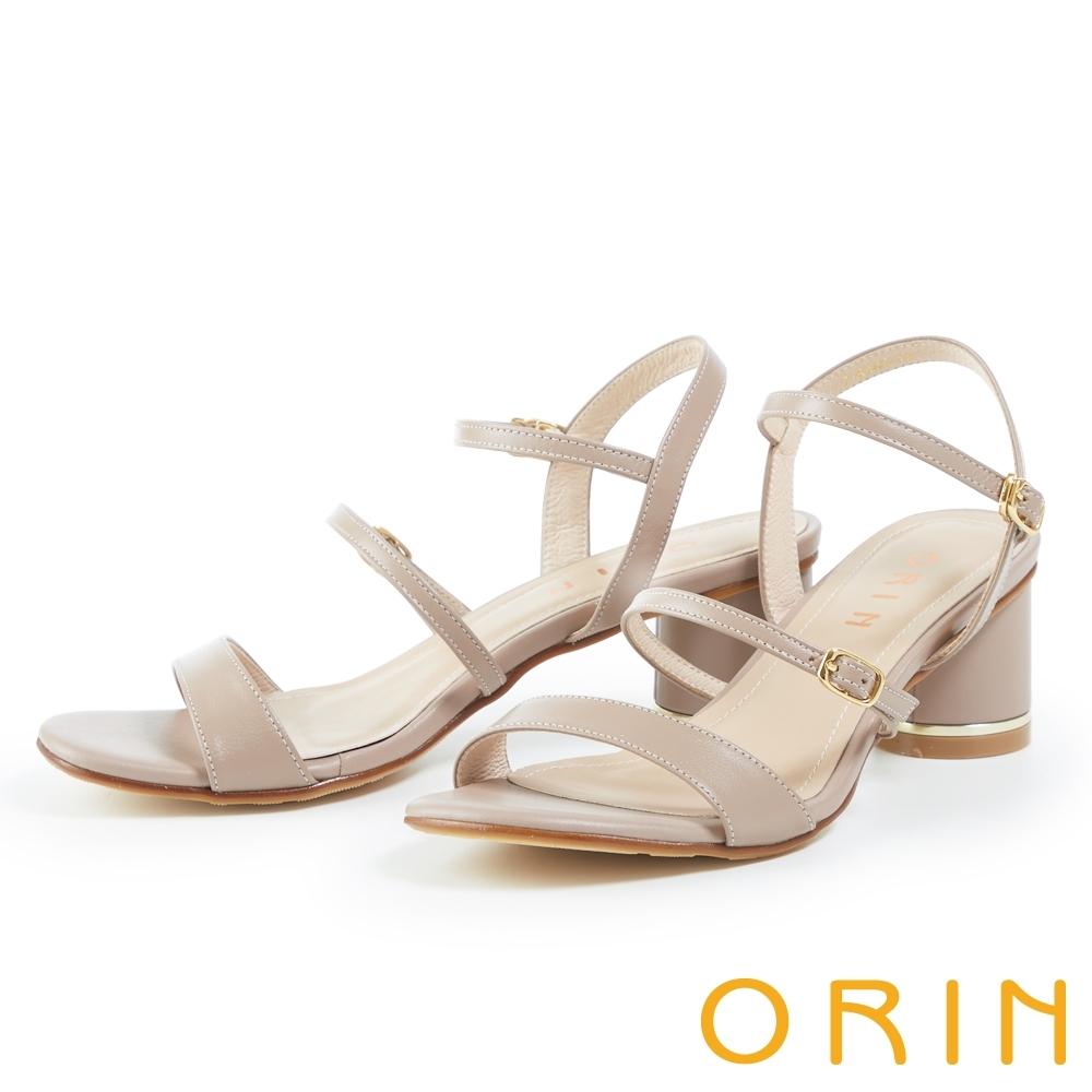 ORIN 雙帶釦環真皮圓高跟 女 涼鞋 藕色