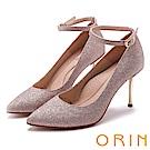 ORIN 晚宴婚嫁首選 後跟金屬鑽飾踝繞尖頭高跟鞋-粉色