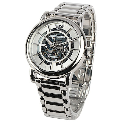 EMPORIO ARMANI 不袗銀色鏤空機械腕錶-(AR60006)-43mm