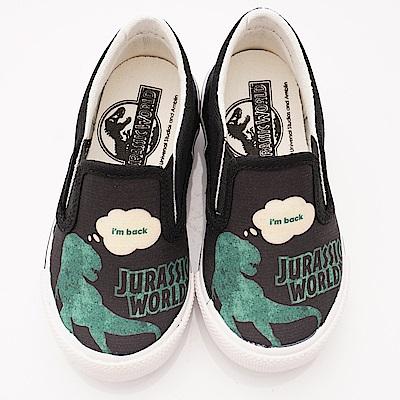侏羅紀公園童鞋 恐龍休閒帆布鞋款 EI3653黑(中小童段)