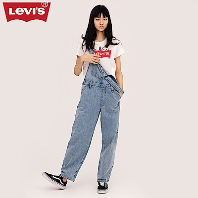 Levis 女款 吊帶褲 牛仔 寬褲管