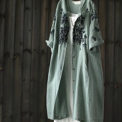 刺繡開衫裙寬鬆中長版防曬衣中袖亞麻外套-設計所在