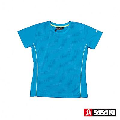 SASAKI 長效性吸排汗功能圓領短衫-女-鮮藍/亮藍