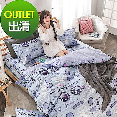 戀家小舖 / 雙人加大床包被套組  美式米奇  100%精梳棉  台灣製