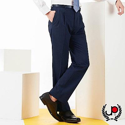 極品西服正式簡約舒適透氣直條打褶西褲_深藍條(BS703-2)