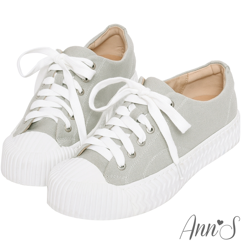 Ann'S黑科技-弄不髒防潑水綁帶帆布餅乾鞋-灰