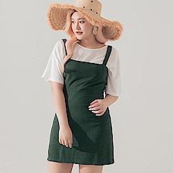 AIR SPACE LADY 中大尺碼 簡約平領棉麻洋裝 (綠)