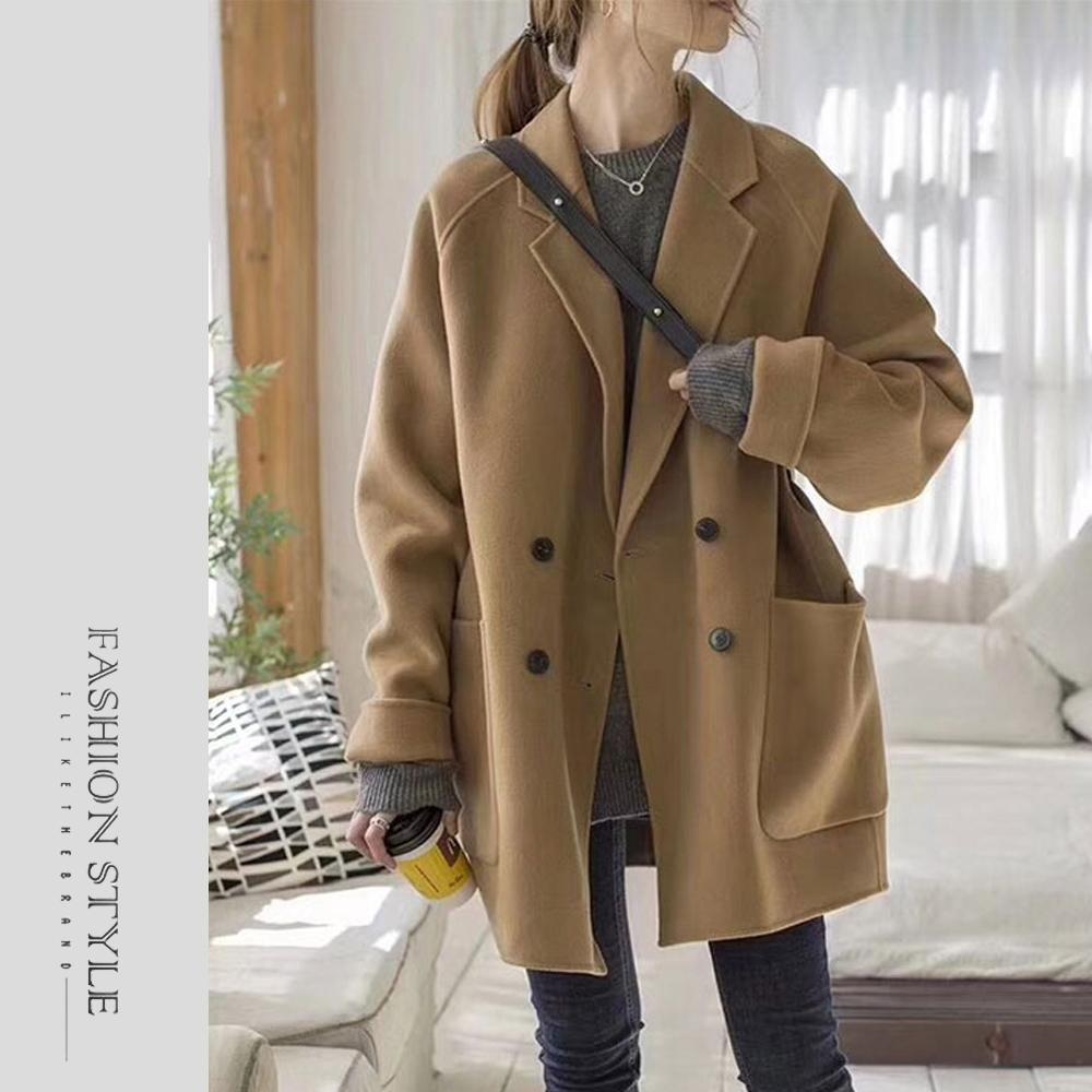 2F韓衣-簡約率性翻領保暖毛呢外套-駝色(S-XL)