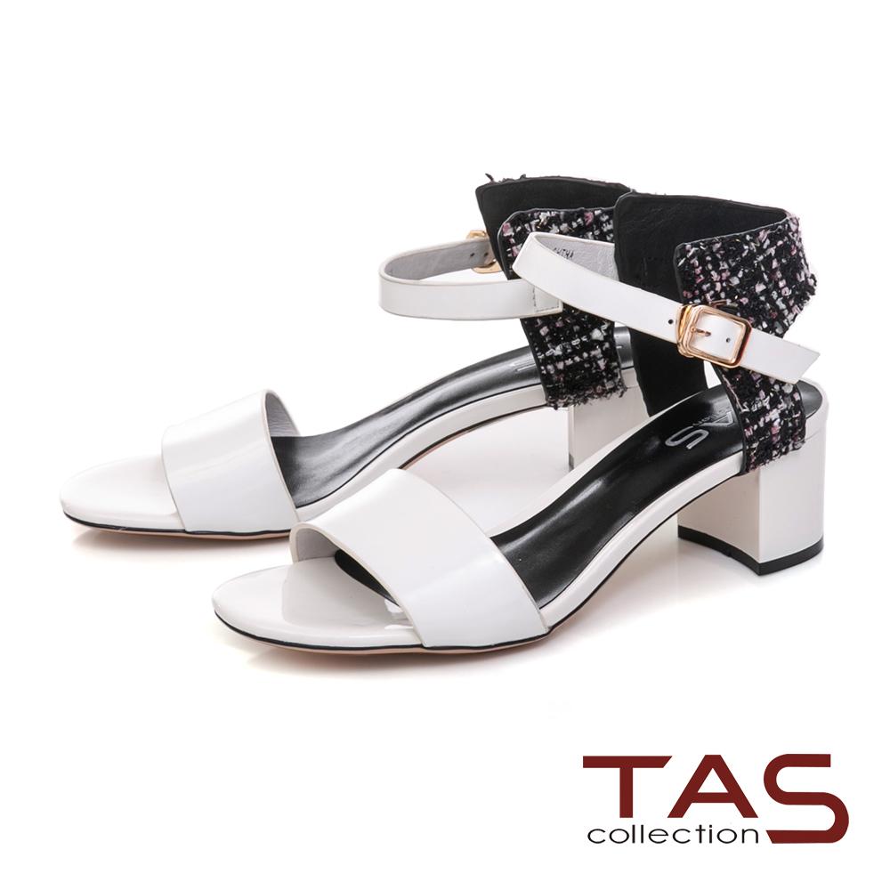 TAS 異材質拼接格紋繫帶粗跟涼鞋-氣質白