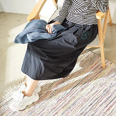 慢 生活 設計款口袋中長裙-深藍