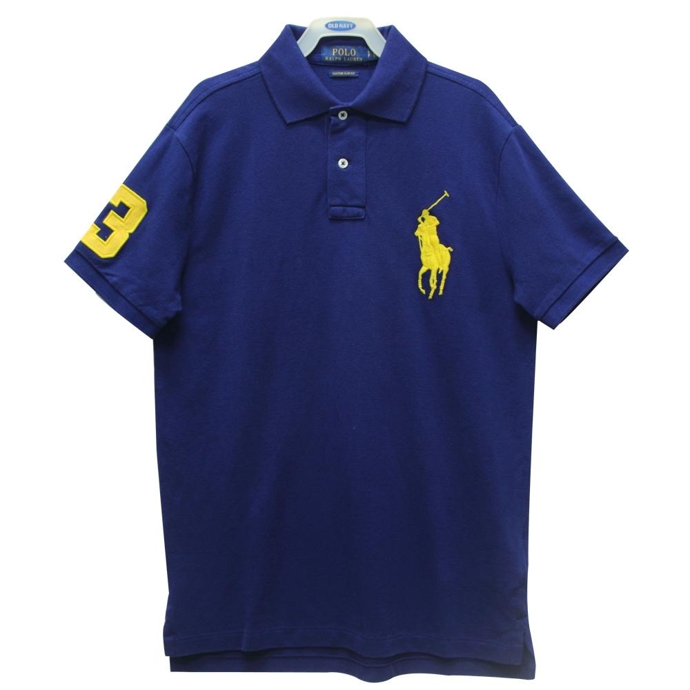 Ralph Lauren CUSTOM SLIM FIT刺繡數字3經典大馬短袖POLO衫-藍色S