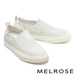休閒鞋 MELROSE 純真簡約純色全真皮厚底休閒鞋-綠