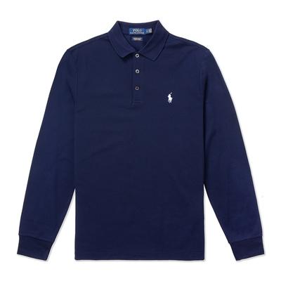 Polo Ralph Lauren 經典刺繡小馬長袖Polo衫(Custom Slim)-深藍色