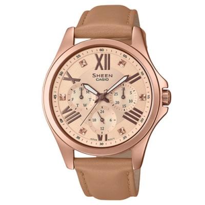 SHEEN 秋冬氣質羅馬時刻大錶面皮帶腕錶(SHE-3806GL-9A)/44.5mm