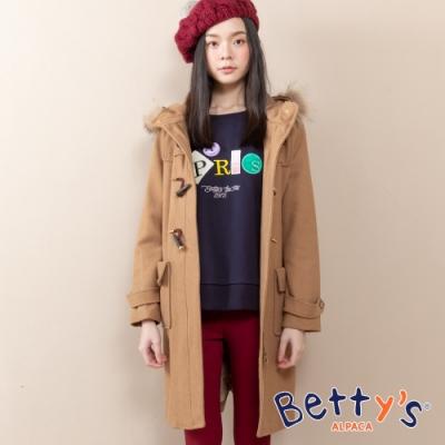 betty's貝蒂思 連帽磨毛拉鍊牛角釦大衣(卡其)
