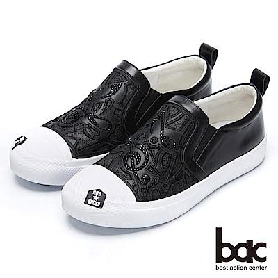 bac街頭運動-音符沖孔閃耀鏤空懶人休閒鞋