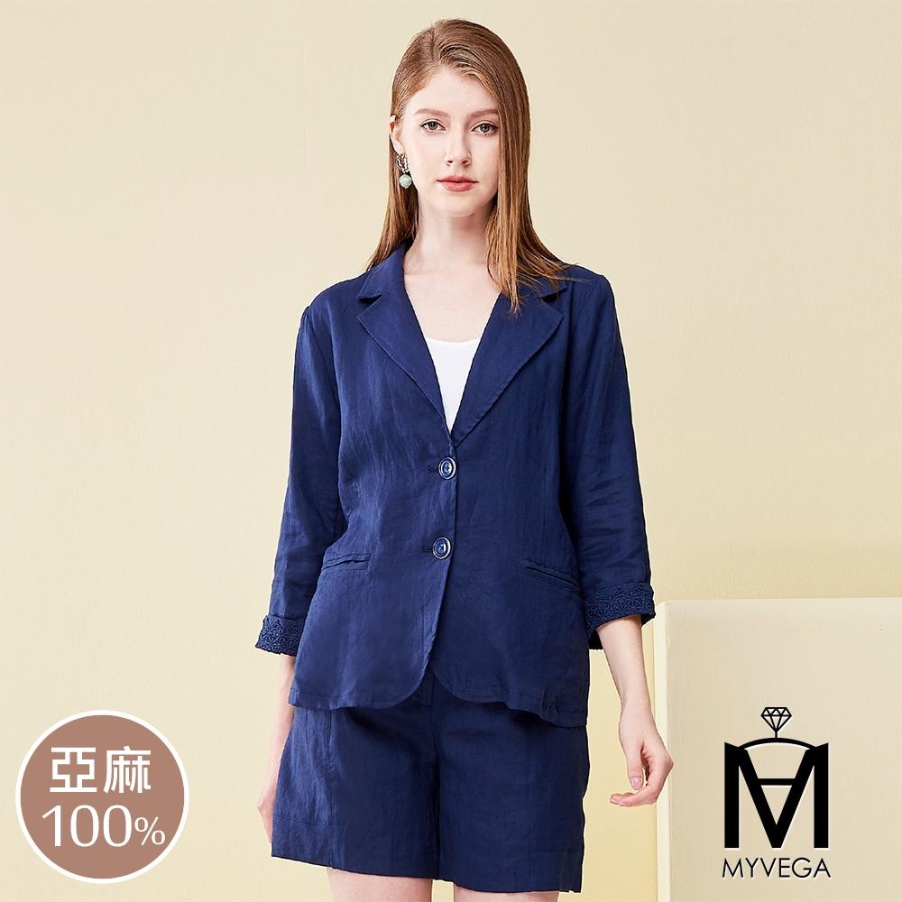 MYVEGA麥雪爾 MA100%亞麻蕾絲套裝外套-深藍