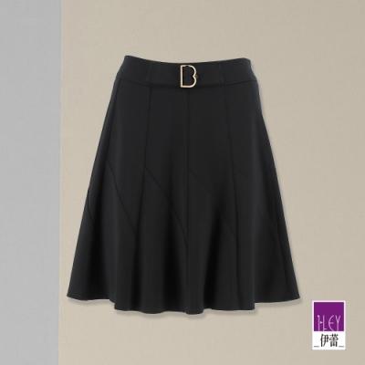 ILEY伊蕾 高彈性素色百搭顯瘦褲裙(黑)