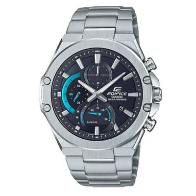 EDIFICE簡約魅力太陽能纖薄藍寶石鏡面計時腕錶(EFS-S560D-1A)/黑面45.4mm