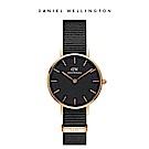 DW 手錶 官方旗艦店 32mm玫瑰金框 Petite 寂靜黑織紋錶