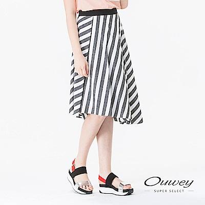 OUWEY歐薇 舒適質感條紋及膝裙(灰)