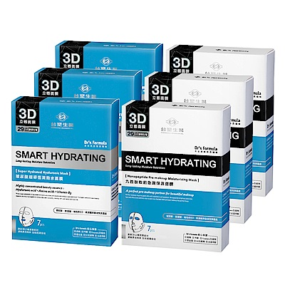 台塑生醫Dr's Formula-丰潤肌保濕面膜6入組(玻尿酸*3盒+九胜肽*3盒)