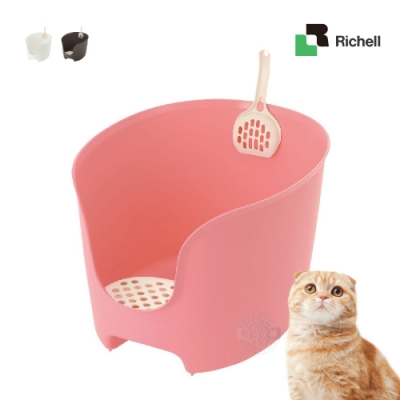 [送贈品]日本Richell 拉普蕾 圍牆貓廁所 附貓鏟 單層 貓砂盆 貓便盆 除砂墊 貓沙盆 寵物廁所