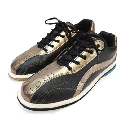 【DJ80嚴選】LANEWOLF 新式樣3.0仿真皮男用高級保齡球鞋-左手鞋(香檳金/黑)
