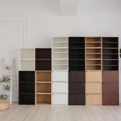 樂嫚妮 二層收納櫃/空櫃/書櫃-層板可抽-淺胡桃木色3入組-42X28.2X28.8cm