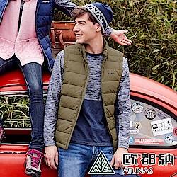 【ATUNAS 歐都納】男款防潑水羽絨保暖立領背心A1VE1901M棕綠/內搭外穿